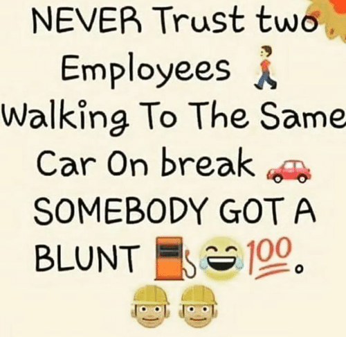 Memes, Break, and Never: NEVER Trust two  Employees  Walking To The Same  Car On break  SOMEBODY GOT A  BLUNT 100