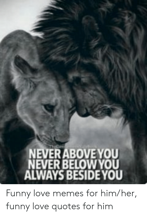 Funny, Love, and Memes: NEVERABOVE YOU  NEVER BELOWYOU  ALWAYS BESIDE YOU Funny love memes for him/her, funny love quotes for him