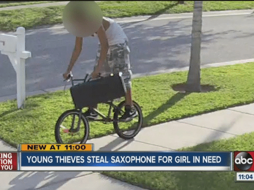 Girl, Ing, and Saxophone: NEW AT 11:00  ING YOUNG THIEVES STEAL SAXOPHONE FOR GIRL IN NEED 6bc  YOU  11:04