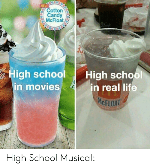 Candy, High School Musical, and Life: NEW  Cotton  Candy  McFloat  High school High school  in real life  n movies  MCFLOAT High School Musical: