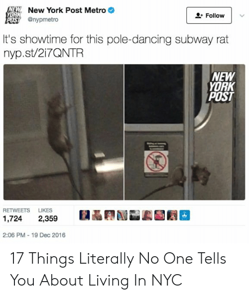 New York Post: NEW New York Post Metro  YORK  Follow  POST @nypmetro  It's showtime for this pole-dancing subway rat  nyp.st/217QNTR  NEW  YORK  POST  RETWEETS  LIKES  1,724  2,359  2:06 PM - 19 Dec 2016 17 Things Literally No One Tells You About Living In NYC