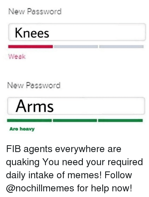 Memes, Help, and Arms: New Password  Knees  Weak  New Password  Arms  Are heavy FIB agents everywhere are quakingYou need your required daily intake of memes! Follow @nochillmemesfor help now!