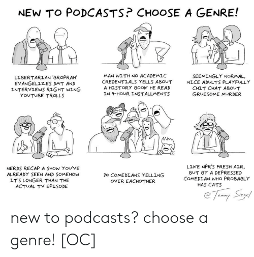 Podcasts: NEW TO PODCASTS? CHOOSE A GENRE!  MAN WITH NO ACADEMLC  CREDENTLALS YELLS ABOUT  A HISTORY B0OK HE READ  LN 9-HOUR INSTALLMENTS  SEEMINGLY NORMAL,  LIBERTARLAN 'BROPRAH  EVANGELIZES DMT AN)D  INTERVIEWS RIGHT WING  NICE ADULTS PLAYFULLY  CHIT CHAT ABOUT  GRUESOME MURDER  YOUTUBE TROLLS  NERDS RECAP A SHOW YOU'VE  ALREADY SEEN AND SOMEHOW  LIKE NPR'S FRESH AIR  BUT BY A DEPRESSED  COMEDLAN WHO PROBABLY  30 COMEDLANS YELLING  OVER EACHOTHER  LT'S LONGER THAN THE  ACTUAL TV EPISODE  HAS CATS  eqe new to podcasts? choose a genre! [OC]