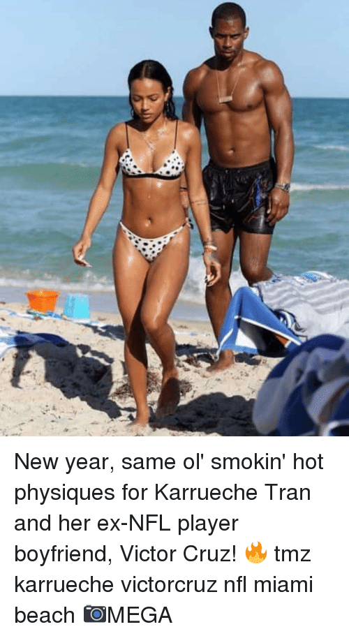 Karrueche Tran, Memes, and New Year's: New year, same ol' smokin' hot physiques for Karrueche Tran and her ex-NFL player boyfriend, Victor Cruz! 🔥 tmz karrueche victorcruz nfl miami beach 📷MEGA