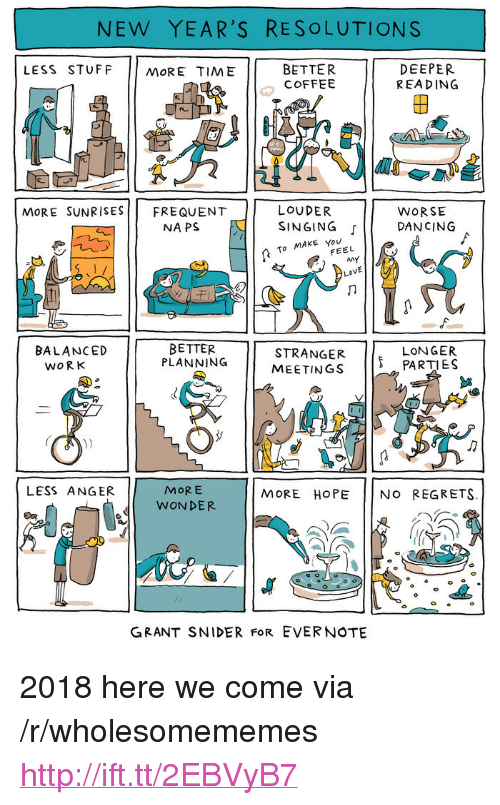 """New Year's Resolutions: NEW YEAR'S RESOLUTIONS  LESS STUFF MORE TIME  BETTER  COFFEE  DEEPER  REA DING  2  re  LOUDER  NAPS E I SINGING  MoRE SUNRISESFREQUENT  WORSE  「11 DANCING  To MAKE You  FEEL  BETTER  PLANNING  8  STRANGER PARTIES  MEETINGS  BALANCED  LONGER  WORK  MORE  WONDER  LESS ANGER  MORE HOPE NO REGRETS.  GRANT SNIDER FoR EVERNOTE <p>2018 here we come via /r/wholesomememes <a href=""""http://ift.tt/2EBVyB7"""">http://ift.tt/2EBVyB7</a></p>"""