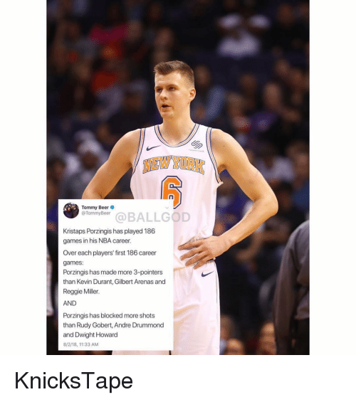 Beer, Dwight Howard, and Kevin Durant: NEW YORK  Tommy Beer  @TommyBeer  efonivbaeBALLGOD  Kristaps Porzingis has played 186  games in his NBA career.  Over each players' first 186 career  games:  Porzingis has made more 3-pointers  than Kevin Durant, Gilbert Arenas and  Reggie Miller.  AND  Porzingis has blocked more shots  than Rudy Gobert, Andre Drummond  and Dwight Howard  8/2/18,11:33 AM KnicksTape