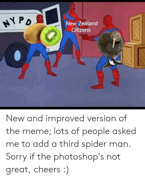 Meme, Reddit, and Sorry: New Zealand  Citizens New and improved version of the meme; lots of people asked me to add a third spider man. Sorry if the photoshop's not great, cheers :)