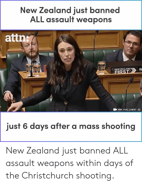 Memes, New Zealand, and 🤖: New Zealand iust banned  ALL assault weapons  attn:  NEW Z  wWW. PARLIAMENT. NZ  just 6 days after a mass shooting New Zealand just banned ALL assault weapons within days of the Christchurch shooting.