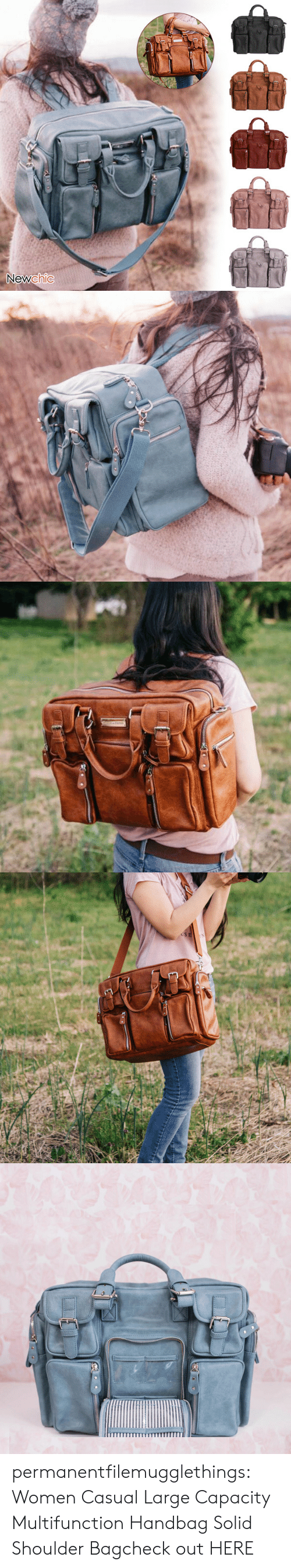 capacity: Newchic   USE permanentfilemugglethings:  Women Casual Large Capacity Multifunction Handbag Solid Shoulder Bagcheck out HERE