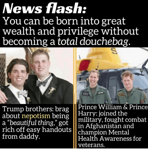 """Népotisme: News flash:  You can be born into great  wealth and privilege without  becoming a total douchebag.  Trump brothers: brag  Prince William & Prince  about nepotism being  Harry joined the  a beautiful thing,"""" got  military, fought combat  rich in Afghanistan and  off easy handouts  champion Mental  from daddy.  Health Awareness for  veterans."""