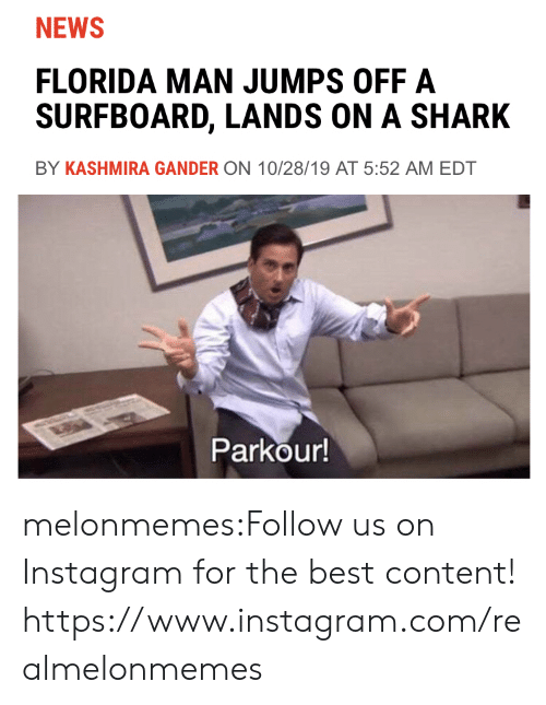 edt: NEWS  FLORIDA MAN JUMPS OFF A  SURFBOARD, LANDS ON A SHARK  BY KASHMIRA GANDER ON 10/28/19 AT 5:52 AM EDT  Parkour! melonmemes:Follow us on Instagram for the best content! https://www.instagram.com/realmelonmemes