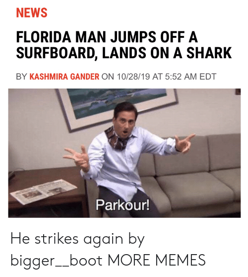 edt: NEWS  FLORIDA MAN JUMPS OFF A  SURFBOARD, LANDS ON A SHARK  BY KASHMIRA GANDER ON 10/28/19 AT 5:52 AM EDT  Parkour! He strikes again by bigger__boot MORE MEMES