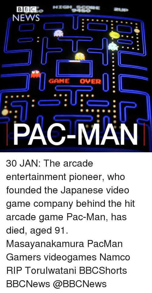 video-game-company: NEWS  GAME OVER  PAC-MAN 30 JAN: The arcade entertainment pioneer, who founded the Japanese video game company behind the hit arcade game Pac-Man, has died, aged 91. Masayanakamura PacMan Gamers videogames Namco RIP ToruIwatani BBCShorts BBCNews @BBCNews