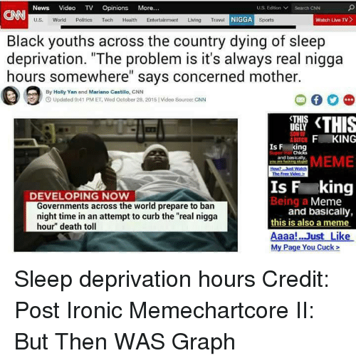 """Post Ironic: News Video TV  Opinions  More  US Edition Search CNN  U.S.  World Politics Tech Health Entertainment  Living Travel  N  watch uvu TV  Sports  Black youths across the country dying of sleep  deprivation. """"The problem is it's always real nigga  hours somewhere"""" says concerned mother.  By Holly Yan and Mariano Castillo, CNN  3 Updated 9:41 PM ET Wod october 28, 2015 Video Source: CNN  <THIS  UGLY  F ING  IS F  in  and basically  MEME  Is F king  DEVELOPING NOW  Being a  Meme  Governments across the world prepare to ban  and basically,  night time in an attempt to curb the """"real nigga  this is also a meme  hour"""" death toll  Aaaa! Just Like  My Page You Cuck Sleep deprivation hours  Credit: Post Ironic Memechartcore II: But Then WAS Graph"""