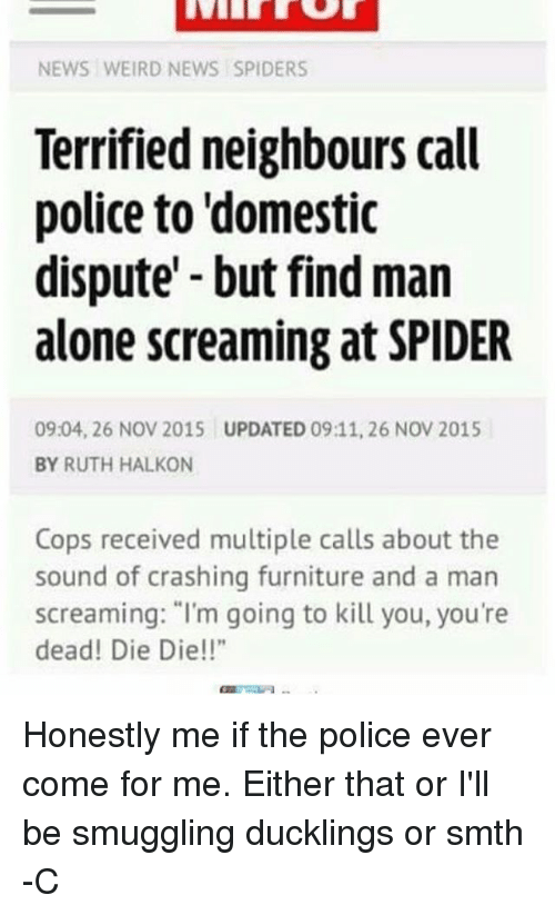 """Come For Me: NEWS WEIRD NEWS SPIDERS  Terrified neighbours call  police to domestic  dispute but find man  alone screaming at SPIDER  0904, 26 NOV 2015 UPDATED 09:11, 26 NOV 2015  BY RUTH HALKON  Cops received multiple calls about the  sound of crashing furniture and a man  screaming: """"I'm going to kill you, you're  dead! Die Die!"""" Honestly me if the police ever come for me. Either that or I'll be smuggling ducklings or smth -C"""