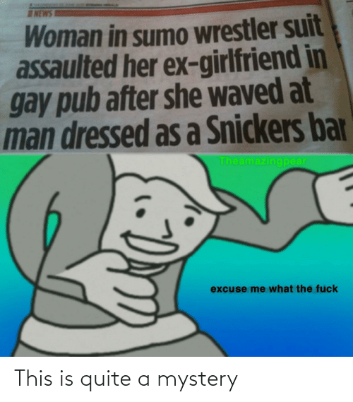sumo: NEWS  Woman in sumo wrestler suit  assaulted her ex-girlfriend in  gay pub after she waved at  man dressed as a Snickers bar  Theamazingpear  excuse me what the fuck This is quite a mystery