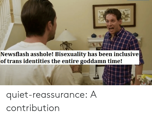 Identities: Newsflash asshole! Bisexuality has been inclusive  of trans identities the entire goddamn time! quiet-reassurance:  A contribution