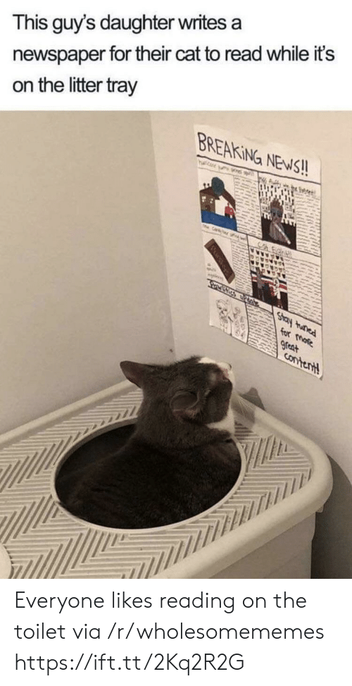 Litter: newspaper for their cat to read while it's  on the litter tray  This guy's daughter writes a  BREAKING NEWS!!  TH  Cr  Co  Stay tunad  for more  great  Contentt Everyone likes reading on the toilet via /r/wholesomememes https://ift.tt/2Kq2R2G