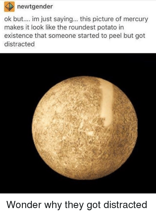 Im Just Saying: newtgender  ok but.... im just saying.. this picture of mercury  makes it look like the roundest potato in  existence that someone started to peel but got  distracted Wonder why they got distracted