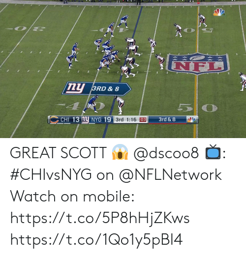 5 0: NF  ny  3RD & 8  5 0  CHI 13 nu NYG 19 3rd 1:16 03  3rd & 8 GREAT SCOTT 😱 @dscoo8  📺: #CHIvsNYG on @NFLNetwork Watch on mobile: https://t.co/5P8hHjZKws https://t.co/1Qo1y5pBI4
