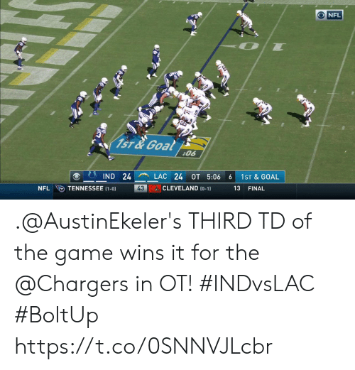 Tennessee: NFL  1ST&Goal  :06  LAC 24  IND 24  OT 5:06  1ST & GOAL  6  CLEVELAND (0-1)  TENNESSEE (1-0)  43  NFL  13  FINAL .@AustinEkeler's THIRD TD of the game wins it for the @Chargers in OT! #INDvsLAC #BoltUp https://t.co/0SNNVJLcbr
