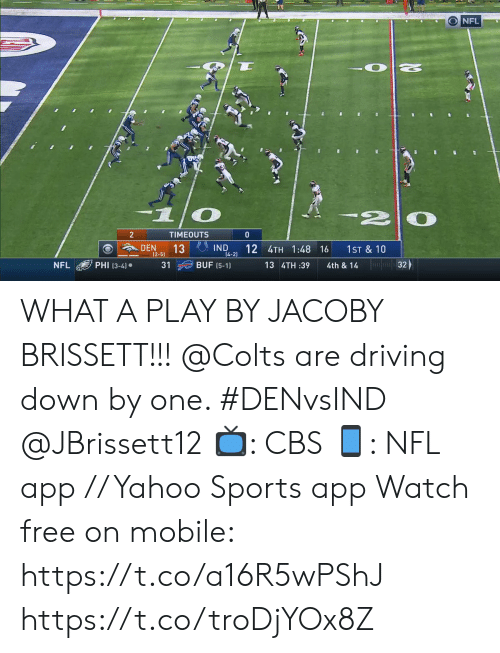 Indianapolis Colts: NFL  2  TIMEOUTS  0  IND  14-2)  DEN  13  (2-5)  12 4TH 1:48 16  1ST & 10  32  PHI (3-4)  BUF (5-1)  NFL  31  13 4TH :39  4th & 14 WHAT A PLAY BY JACOBY BRISSETT!!!  @Colts are driving down by one. #DENvsIND @JBrissett12  📺: CBS 📱: NFL app // Yahoo Sports app Watch free on mobile: https://t.co/a16R5wPShJ https://t.co/troDjYOx8Z