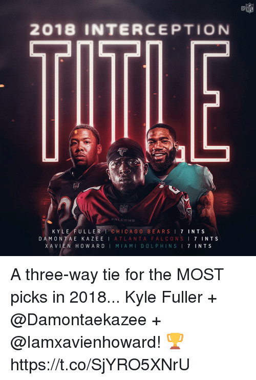 Atlanta Falcons: NFL  2018 INTERCEPTION  KYLE FULLER CHICA G O BEARSI 7 INTS  DAMONTA E KAZEE | ATLANTA FALCONS ! 7 INTS  XAVLEN HOWARD | MIAMI DOLPHINS I 7 INTS A three-way tie for the MOST picks in 2018...   Kyle Fuller + @Damontaekazee + @Iamxavienhoward! 🏆 https://t.co/SjYRO5XNrU