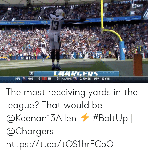 css: NFL  ALLEN  13  SPATAL F THE LNES CSS  80  1G  GO 3OL  TARENS  2ND &  NFL ny NYG  28 HALFTIME ny D. JONES: 12/19, 123 YDS  10  TB The most receiving yards in the league? That would be @Keenan13Allen ⚡️  #BoltUp | @Chargers https://t.co/tOS1hrFCoO