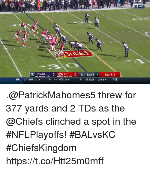 Broomstick: NFL  B10 0 1ST 13:45 9 3RD &3  0 1ST 13:38 3rd & 4 31  (7-5)  ー110-21  IND (6-61  0 HOU t9-31 .@PatrickMahomes5 threw for 377 yards and 2 TDs as the @Chiefs clinched a spot in the #NFLPlayoffs! #BALvsKC  #ChiefsKingdom https://t.co/Htt25m0mff