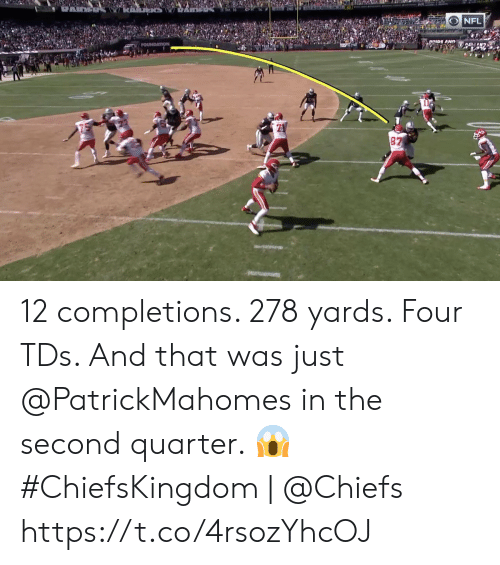 Memes, Nfl, and Chiefs: NFL  DRIDE AND  FOUNDATION  87 12 completions. 278 yards. Four TDs.   And that was just @PatrickMahomes in the second quarter. 😱  #ChiefsKingdom | @Chiefs https://t.co/4rsozYhcOJ