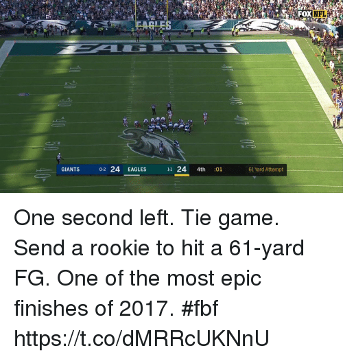 Philadelphia Eagles, Memes, and Nfl: NFL  GIANTS  0-2 24 EAGLES  11 24 4th :01  61 Yard Attempt One second left. Tie game. Send a rookie to hit a 61-yard FG.  One of the most epic finishes of 2017. #fbf https://t.co/dMRRcUKNnU