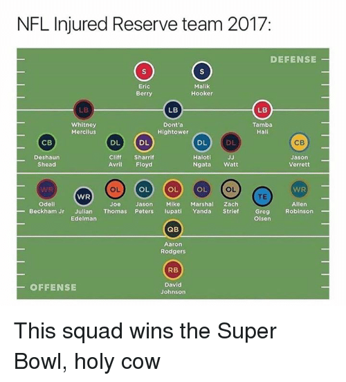 Aaron Rodgers, Hookers, and Nfl: NFL Injured Reserve team 2017  DEFENSE  Eric  Berry  Malik  Hooker  LB  LB  LB  Whitney  Mercilus  Dont'a  Hightower  Tamba  Hali  DL  DL  DL  DL  CB  CB  Deshaurn  Shead  Cliff Sharrif  Avril Floyd  Haloti  Ngata Watt  Jason  Verrett  OL  OL  OL  OL  WR  OL  WR  TE  WR  Allen  Robinson  odell  Joe  Jason Mike MarshaZach  Greg  Oisen  Beckham Jr Julian Thomas Peters lupati Yanda Strief  Edelman  QB  Aaron  Rodgers  RB  OFFENSE  David  Johnsorn This squad wins the Super Bowl, holy cow