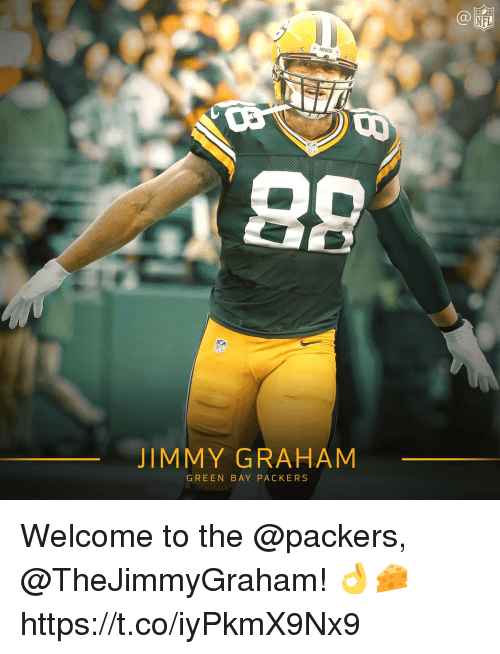 green bay: NFL  JIMMY GRAHAM  GREEN BAY PACKERS Welcome to the @packers, @TheJimmyGraham! 👌🧀 https://t.co/iyPkmX9Nx9