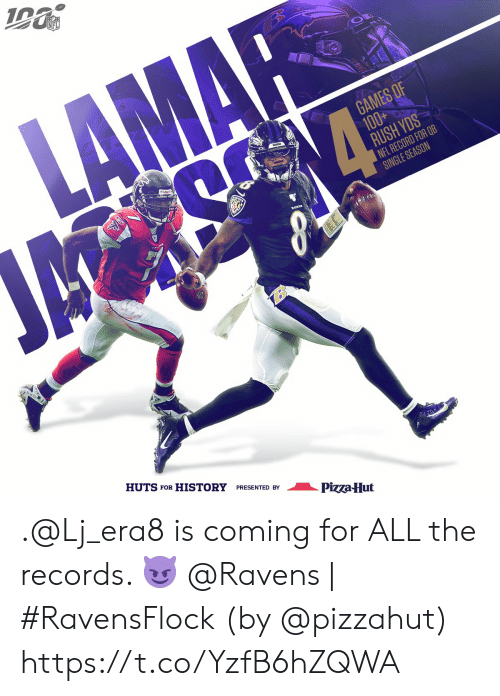 Memes, Nfl, and Pizza: NFL  LAMAR  GAMES OF  100+  RUSH YDS  NFL RECORD FOR QB  SINGLE SEASON  ম  HUTS FOR HISTORY PRESENTED BY  Pizza-Hut .@Lj_era8 is coming for ALL the records. 😈  @Ravens | #RavensFlock  (by @pizzahut) https://t.co/YzfB6hZQWA