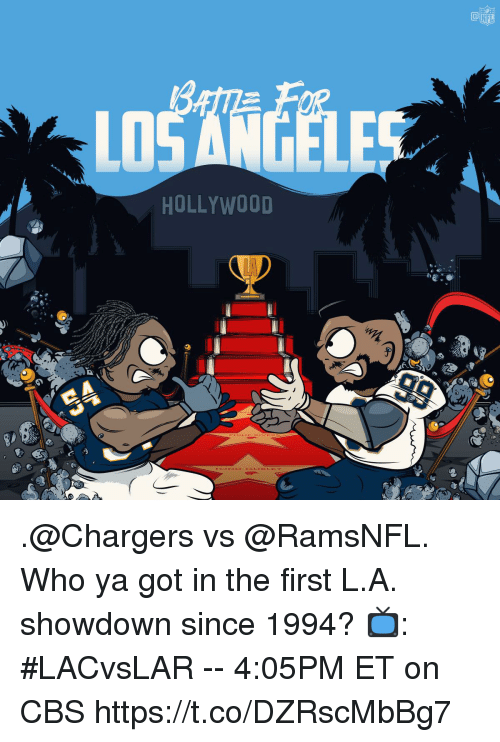 Memes, Nfl, and Cbs: NFL  LD  HOLLYWOOD .@Chargers vs @RamsNFL.  Who ya got in the first L.A. showdown since 1994?  📺: #LACvsLAR -- 4:05PM ET on CBS https://t.co/DZRscMbBg7