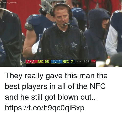 Football, Memes, and Nfl: @NFL MEMES  ,7lZT AFC 25 Ter-NFC 714TH 6:08 22 They really gave this man the best players in all of the NFC and he still got blown out... https://t.co/h9qc0qiBxp
