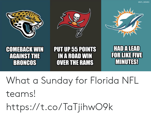 Football, Memes, and Nfl: @NFL MEMES  HAD ALEAD  FOR LIKE FIVE  MINUTES!  PUT UP 55 POINTS  IN A ROAD WIN  OVER THE RAMS  СOМЕВАСK WIN  AGAINST THE  BRONCOS What a Sunday for Florida NFL teams! https://t.co/TaTjihwO9k