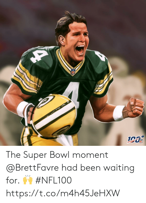 Memes, Nfl, and Super Bowl: NFL  NFL The Super Bowl moment @BrettFavre had been waiting for. ? #NFL100 https://t.co/m4h45JeHXW