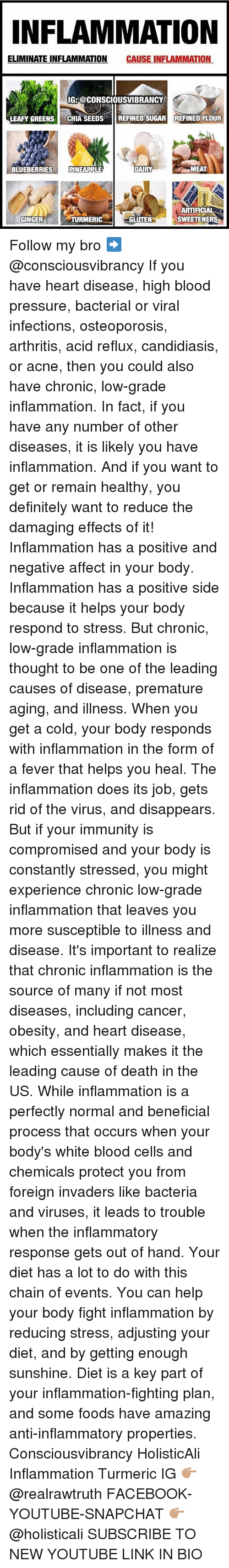 gingerly: NFLAMMATION  ELIMINATE INFLAMMATION CAUSE INFLAMMATION  IG: @CONSCIOUSVIBRANCY  LEAFY GREENS CHIA SEEDSREFINED SUGAR REFINED FLOUR  BLUEBERRIESPINEAPPLE  MEAT  ARTIFICIAL  SWEETENERS  GINGER  TURMERIC  GLUTEN Follow my bro ➡️ @consciousvibrancy If you have heart disease, high blood pressure, bacterial or viral infections, osteoporosis, arthritis, acid reflux, candidiasis, or acne, then you could also have chronic, low-grade inflammation. In fact, if you have any number of other diseases, it is likely you have inflammation. And if you want to get or remain healthy, you definitely want to reduce the damaging effects of it! Inflammation has a positive and negative affect in your body. Inflammation has a positive side because it helps your body respond to stress. But chronic, low-grade inflammation is thought to be one of the leading causes of disease, premature aging, and illness. When you get a cold, your body responds with inflammation in the form of a fever that helps you heal. The inflammation does its job, gets rid of the virus, and disappears. But if your immunity is compromised and your body is constantly stressed, you might experience chronic low-grade inflammation that leaves you more susceptible to illness and disease. It's important to realize that chronic inflammation is the source of many if not most diseases, including cancer, obesity, and heart disease, which essentially makes it the leading cause of death in the US. While inflammation is a perfectly normal and beneficial process that occurs when your body's white blood cells and chemicals protect you from foreign invaders like bacteria and viruses, it leads to trouble when the inflammatory response gets out of hand. Your diet has a lot to do with this chain of events. You can help your body fight inflammation by reducing stress, adjusting your diet, and by getting enough sunshine. Diet is a key part of your inflammation-fighting plan, and some foods have amazing anti-inflammatory properties. C