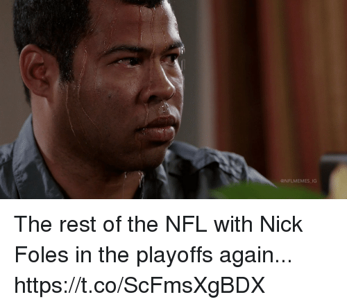 Football, Nfl, and Sports: @NFLMEMES IG The rest of the NFL with Nick Foles in the playoffs again... https://t.co/ScFmsXgBDX