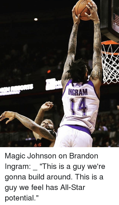 "brandon ingram: NGRAM Magic Johnson on Brandon Ingram: _ ""This is a guy we're gonna build around. This is a guy we feel has All-Star potential."""