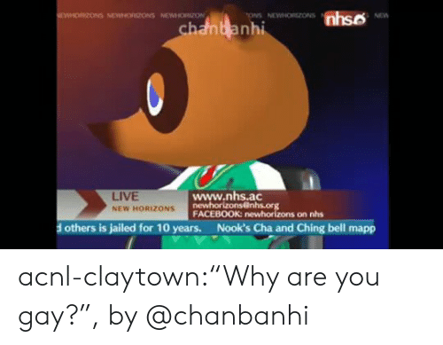 "ons: nhso  EWHORIZONS NEWNORIZONS NEWHORZON  ONS NEWNORZONS  NEW  chanbanhi  www.nhs.ac  newhorizons@nhs.org  FACEBOOK: newhorizons on nhs  LIVE  NEW HORIZONS  Nook's Cha and Ching bell mapp  others is jailed for 10 years. acnl-claytown:""Why are you gay?"", by @chanbanhi"