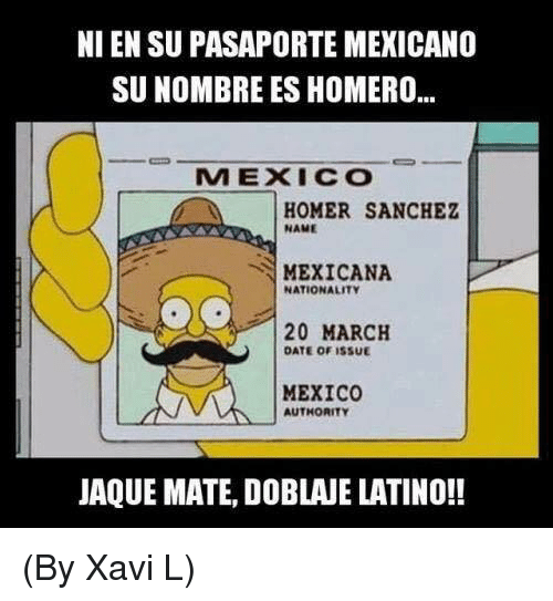 Homerism: NI EN SU PASAPORTE MEXICANO  SUNOMBRE ES HOMERO...  MEXICO  HOMER SANCHEZ  NAME  MEXICANA  NATIONALITY  20 MARCH  DATE OF ISSUE  MEXICO  AUTHORITY  JAQUE MATE, DOBLANE LATINO!! (By Xavi L)