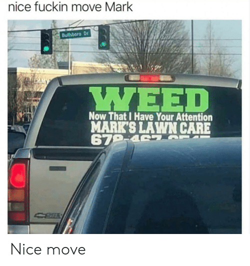 Lawn Care: nice fuckin move Mark  Bullsboro Dr  MY  Now That I Have Your Attention  MARK'S LAWN CARE  679-4 S Nice move