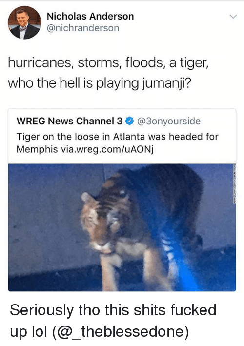 channeling: Nicholas Anderson  @nichranderson  hurricanes, storms, floods, a tiger,  who the hell is playing jumanji?  WREG News Channel 3 @3onyourside  Tiger on the loose in Atlanta was headed for  Memphis via.wreg.com/uAONj Seriously tho this shits fucked up lol (@_theblessedone)