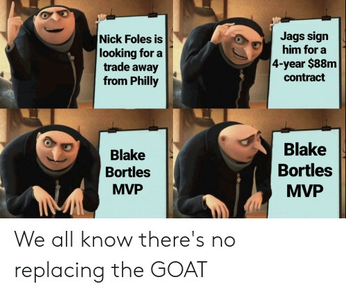 Nfl, Goat, and Nick: Nick Foles is  looking for a  trade away  from Philly  Jags sign  him for a  4-year $88m  contract  Blake  Bortles  MVP  Blake  Bortles  MVP We all know there's no replacing the GOAT