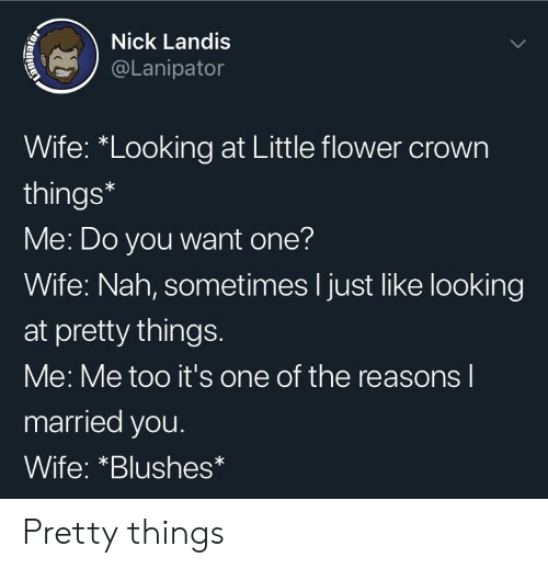 "Flower, Nick, and Wife: Nick Landis  @Lanipator  Wife: ""Looking at Little flower crown  things*  Me: Do you want one?  Wife: Nah, sometimes I just like looking  at pretty things.  Me: Me too it's one of the reasons l  married you.  Wife: *Blushes Pretty things"