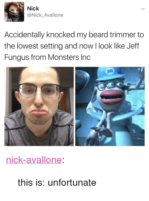 """trimmer: Nick  @Nick_Avallone  Accidentally knocked my beard trimmer to  the lowest setting and now I look like Jeff  Fungus from Monsters Inc <p><a href=""""http://nick-avallone.tumblr.com/post/159092507452/this-is-unfortunate"""" class=""""tumblr_blog"""" target=""""_blank"""">nick-avallone</a>:</p><blockquote><p>this is: unfortunate</p></blockquote>"""