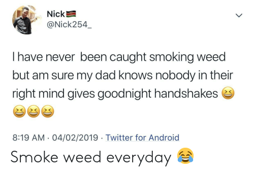 Smoke Weed: Nick  @Nick254  I have never been caught smoking weed  but am sure my dad knows nobody in their  right mind gives goodnight handshakes e  > C  8:19 AM. 04/02/2019 Twitter for Android Smoke weed everyday 😂