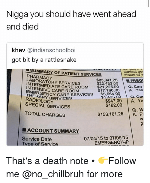 Funny, Date, and Death: Nigga you should have went ahead  and died  khev @indianschoolboi  got bit by a rattlesnake  , '01.49  SUMMARY OF PATIENT SERVICES  PHARMACY  LABORATORY SERVICES  contact our  status of y  $83.34 1.25 |-FREQ  $22,433.00  RMEDIATE CARE ROOM $21,22500 a. Can  $17,766.00 A. Yes  1423.00 . Car  $947.00 A. Ye  Q. W  $153,161.25 A. P  INTENSIVE CARE ROOM  ▼$5,564.00  EMERGE  THERAPY SERVICES  NCY CARE SERVICES  RADIOLOGY  SPECIAL SERVICES  $462.00  TOTAL CHARGES  ■ ACCOUNT SUMMARY  Service Date  Tvpe of Service  07/04/15 to 07/09/15  EMERGENCY-IP That's a death note • 👉Follow me @no_chillbruh for more
